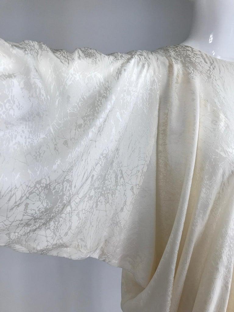 Beige Alik Singer Cream Silk Jacquard Satin Bias Draped Bat Wing Dress 1980s For Sale