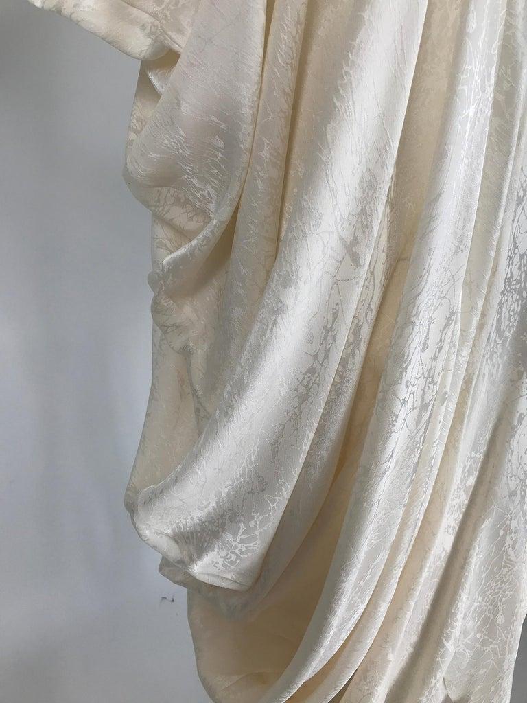 Women's Alik Singer Cream Silk Jacquard Satin Bias Draped Bat Wing Dress 1980s For Sale