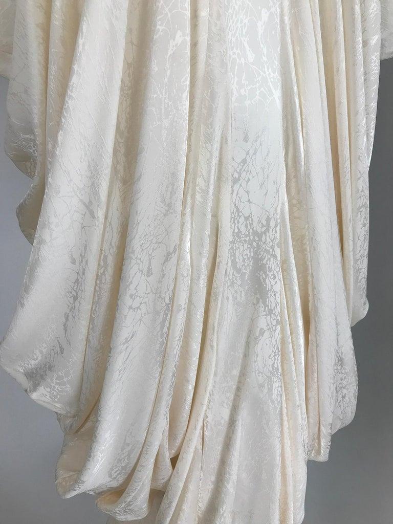 Alik Singer Cream Silk Jacquard Satin Bias Draped Bat Wing Dress 1980s For Sale 1