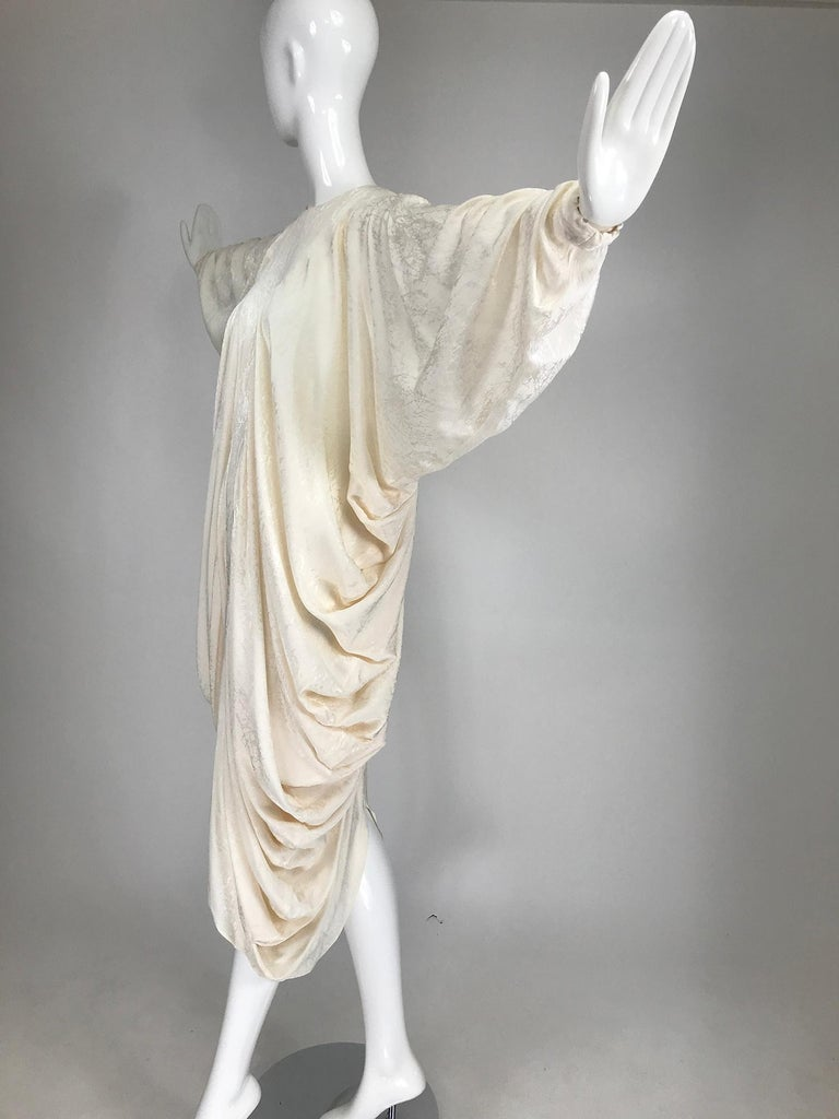 Alik Singer Cream Silk Jacquard Satin Bias Draped Bat Wing Dress 1980s For Sale 2