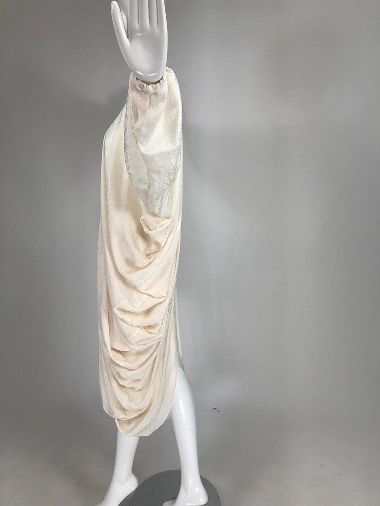 Alik Singer Cream Silk Jacquard Satin Bias Draped Bat Wing Dress 1980s For Sale 3