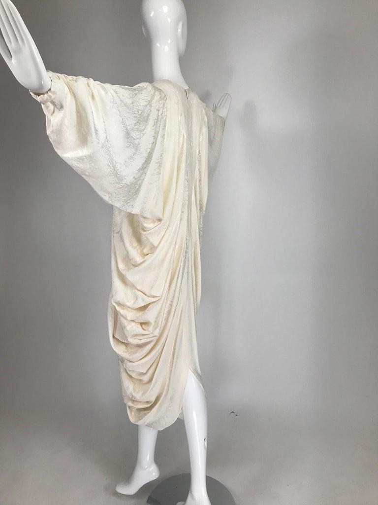 Alik Singer Cream Silk Jacquard Satin Bias Draped Bat Wing Dress 1980s For Sale 4