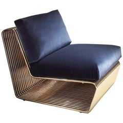 Alina Armchair with Blue Velvet and Base in Gold Finish