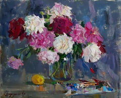 Peonies II -Still Life Oil Painting Purple Pink Red Green White Brown Yellow