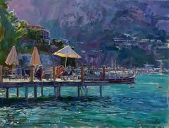 Sunny pier - Landscape Colors Red Blue Green White Brown Purple Yellow