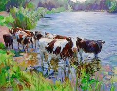 Watering - Oil Painting Landscape Color White Green Blue White Pink Purple Brown