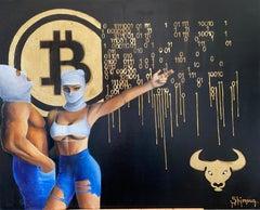 """""""Bitcoin"""" Oil painting 31"""" x 39"""" inch by Alina Shimova"""