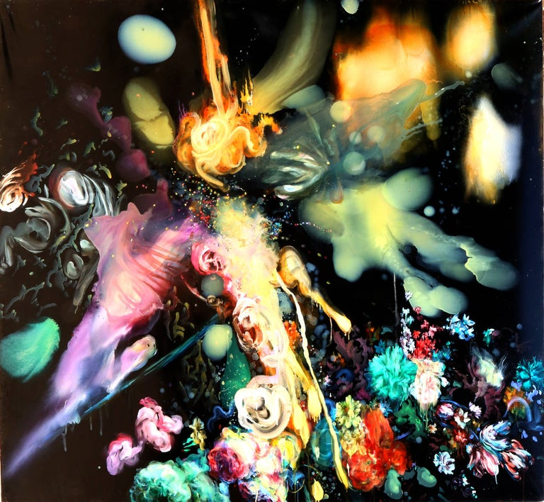 A large-scale modern expressionist painting by Alisa Margolis from 2005. Floral patterns interact with light beams in an intergalactic landscape.   Artist: Alisa Margolis Title: Battle: The Second One Year: 2005 Medium: Oil on Canvas, Resin, Signed