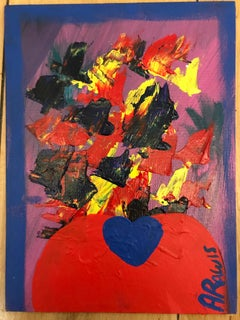 Vase and Flowers acrylic paint signed canvas abstract art investment red yellow