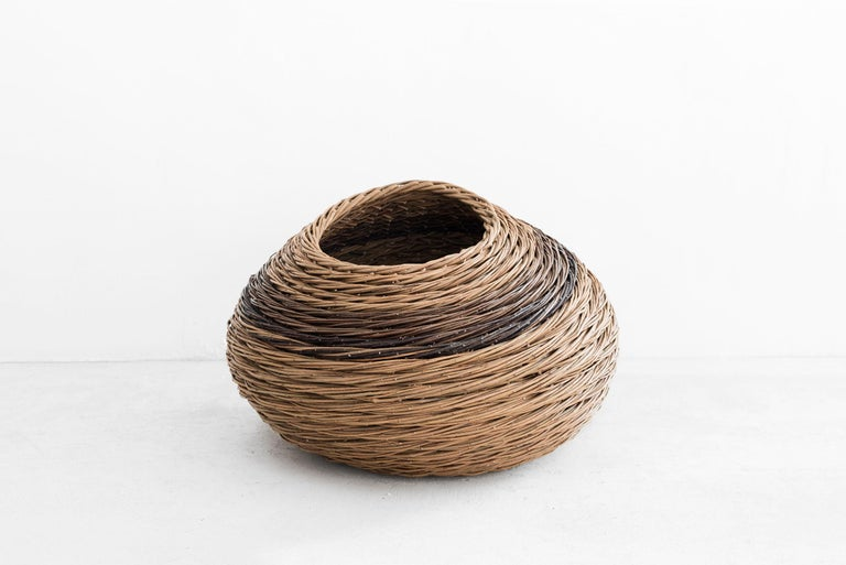 """Baskets Manufactured by Alison Dickens Produced in exclusive for Side Gallery London, 2020  Lean """"Buckled basket' Dicky Meadows & Hilary's grey Willow Measures: 40 cm x 20 cm x 30h cm 15.74 in x 7.97 in x 11.81 H in  Concept: """"In the"""
