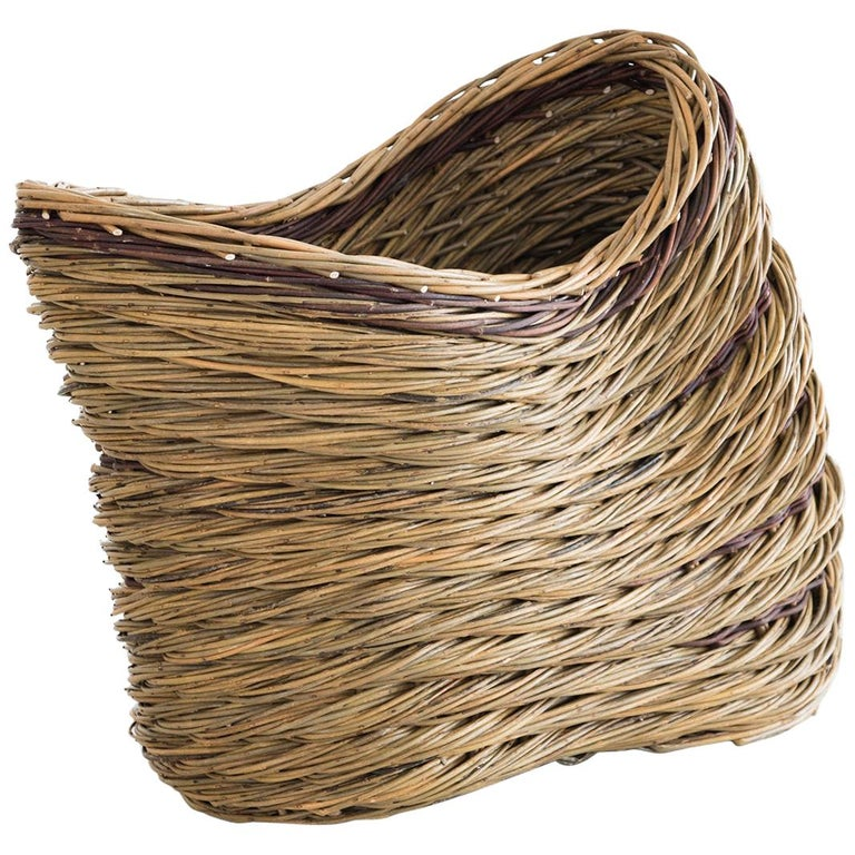 """Alison Dickens, Lean """"Buckled Basket"""" Willow Contemporary Crafts Basket, 2020 For Sale"""