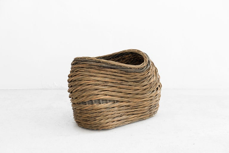 """Alison Dickens Tideline """"""""windlown basket"""""""" Baskets Manufactured by Alison Dickens Produced in exclusive for SIDE GALLERY London, 2020  Tideline """"""""windlown basket"""""""" Whissender willow with steamed and wild black willow"""" 56 cm x 38 cm height 22 in x"""