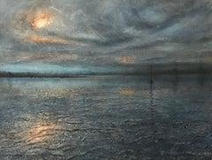 Alison Groom, Maldon Blues, Original Oil Painting, Modern Art, Coastal Art