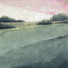 """Hush"" Impasto mixed media painting of a green field and pastel pink sky"