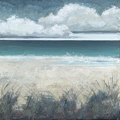 """Seagrass"" Mixed media Impasto seascape of clouds over teal/gray sea and dunes"