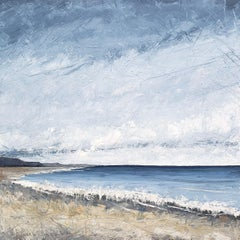 """Southbound"" Mixed media impasto painting of gray sky over blue shoreline"
