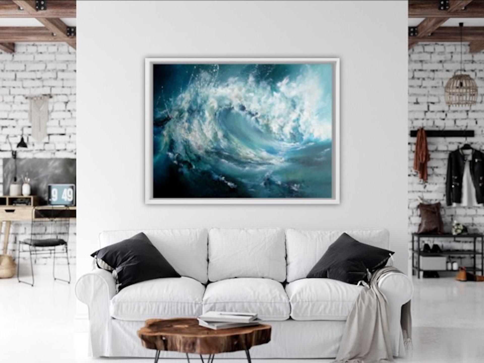 Alison Johnson, The Break, Sea Oil Painting, Original Textured Painting