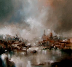 City Dwellings abstract seascape Original oil painting -Contemporary Art
