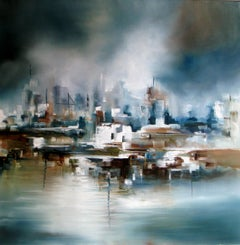 City Side abstract seascape Original oil painting -Contemporary Art