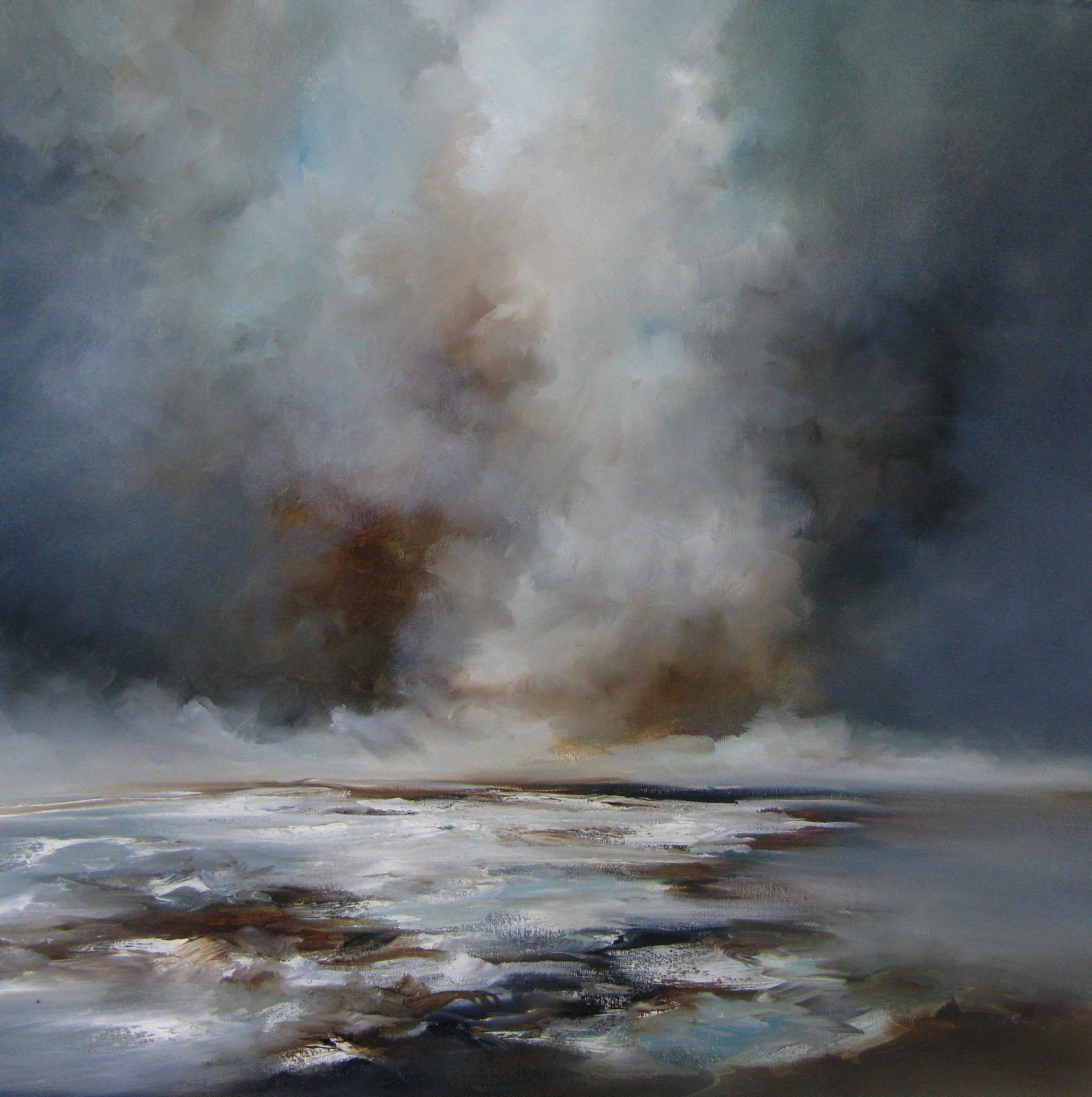 Fade Out - abstract sea landscape beach ocean painting contemporary modern