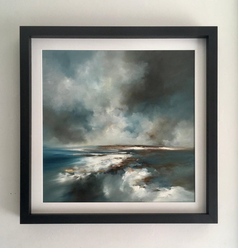 Jet Stream - Original abstract seascape painting contemporary art 21st C modern - Painting by Alison Johnson