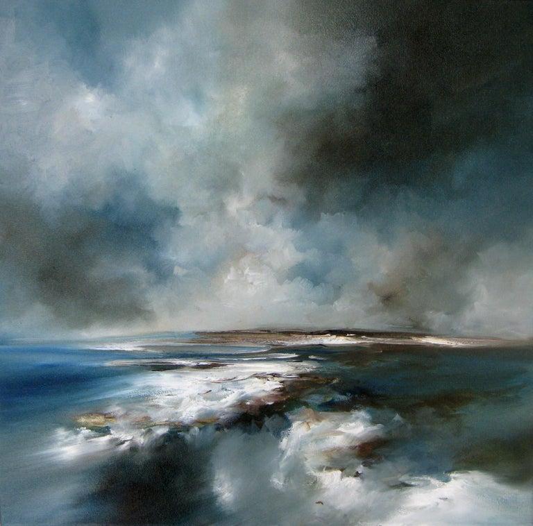 Alison Johnson Landscape Painting - Jet Stream - Original abstract seascape painting contemporary art 21st C modern