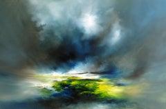 Run Free, Bright Landscape Art, Seascape Painting, Alison Johnson, Green Art