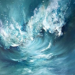 Surf original abstract sea landscape painting Contemporary Art