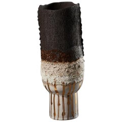 Alison Lousada Crafted Volcanic Textured Black and Gold Stoneware Modern Vessel