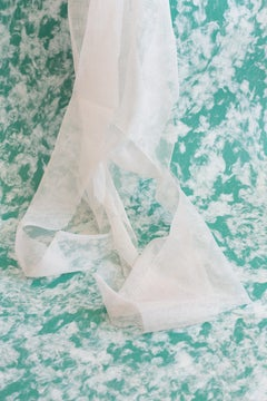 the precise location (of a place) - Turquoise photo, draped white fabric (24x36)