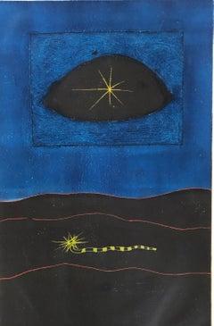 Modern British Surrealist Abstract Bold Color Aquatint Etching Print Yellow Eye