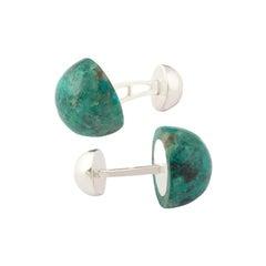 Gemstone Cufflinks, Round Cabochon of Chrysocolla set in Sterling Silver