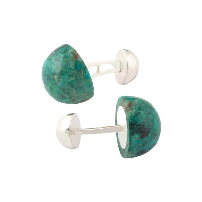 Gemstone Cufflinks, Round Cabochon of Chrysocolla set in Sterling Silver For Sale