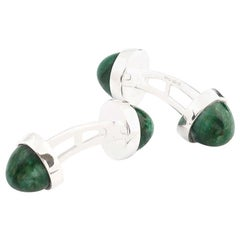 Double Cufflinks Cabochon Aventurine and Hallmarked Sterling Silver