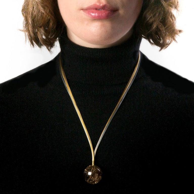 Women's PENDANT NECKLACE Rutilated Quartz, 18 Karat Yellow and White Gold  For Sale