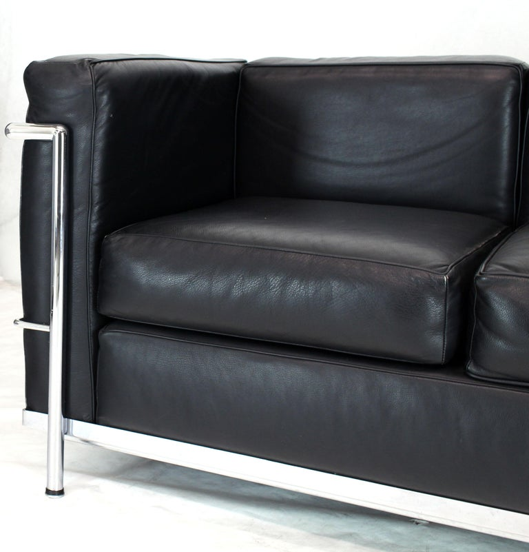 Alivar Le Corbusier Black Leather Three-Seat Sofa