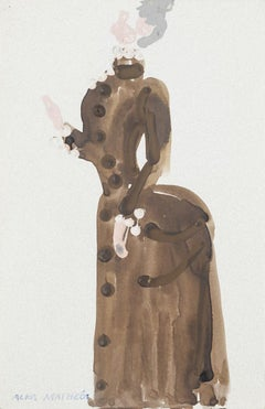 Costume - Original Mixed Media on Paper by Alkis Matheos - 20th Century