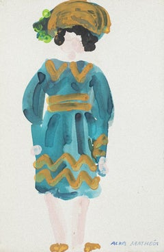 Costume - Original Mixed Media on Paper by Alkis Matheos - Mid-20th Century
