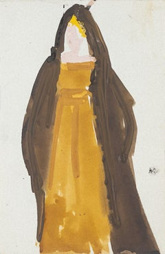 Costume - Original Mixed Media on Paper by Alkis Matheos - Mid 20th Century