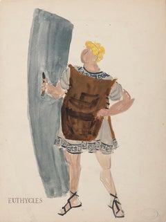 Costume - Original Painting by Alkis Matheos - Mid-20th Century