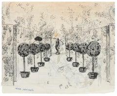 Garden - Original Painting by Alkis Matheos - 20th Century