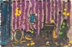 The Room - Original Mixed Media on Paper by Alkis Matheos - Mid-20th Century