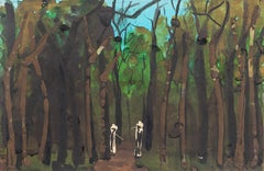 Trees - Original Mixed Media on Paper by Alkis Matheos - Mid-20th Century