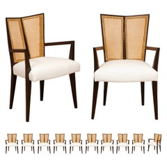 All Arms, Breathtaking Set of 12 Modern V-Back Cane Arm Chairs by Michael Taylor