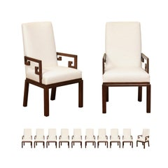 All Arms, Sublime Set of 12 Greek Key Chairs by Michael Taylor, circa 1970