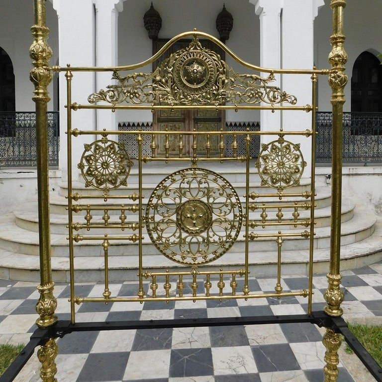 Cast All Brass Crown and Canopy Four Poster Bed For Sale