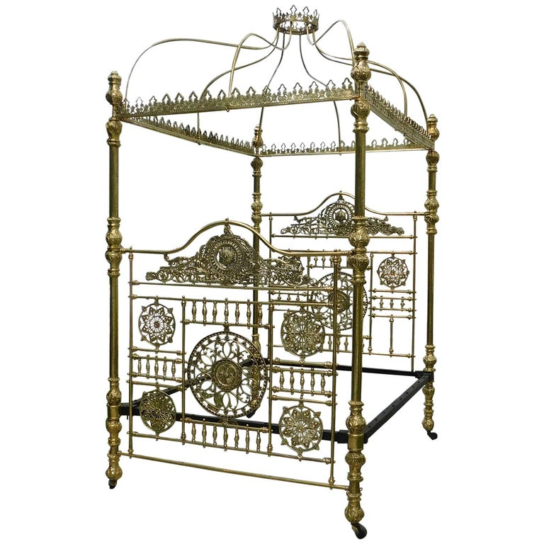 All Brass Crown and Canopy Four Poster Bed For Sale