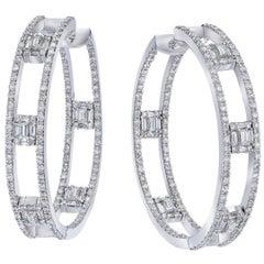 All Diamond Incredible 18 Karat Diamond Hoops