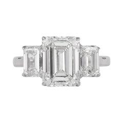 All GIA Certified 4.01 Carat with 2.00 Carat Emerald Cut Diamonds Ring 18 Karat