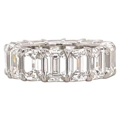 All GIA Certified Emerald Cut Diamond Eternity Ring 10.65 CT D-F IF-VS2 Platinum
